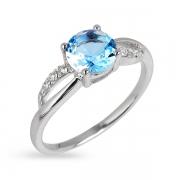Серебряное кольцо с фианитами и топазом