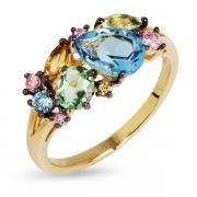 Серебряное кольцо с иск. топазами, аметистами и кварцем