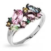 Серебряное кольцо с иск.топазами, аметистами и кварцем