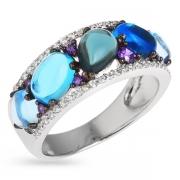 Серебряное кольцо с иск.топазом,аметистом и фианитами