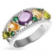 Серебряное кольцо с иск.аметистом,цитрином,перидотоми, фианитами и шпинелью