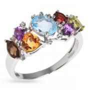 Серебряное кольцо с топазом,аметистом,гранатом,перидотом,кварцем и фианитами