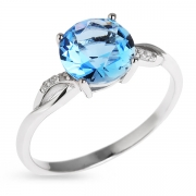 Серебряное кольцо с иск.топазом и фианитами