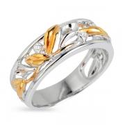 Серебряное кольцо Joli с фианитами и позолотой
