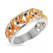 Серебряное кольцо Joli с иск. сапфиром и позолотой