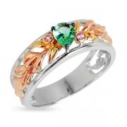 Серебряное кольцо Joli с иск. хризолитом и позолотой