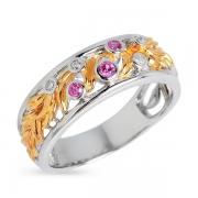 Серебряное кольцо Joli с иск. сапфиром,  фианитом и позолотой