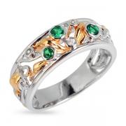 Серебряное кольцо Joli со шпинелью и позолотой