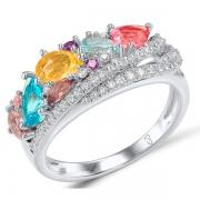 Серебряное кольцо Sandara Ice с иск. топазом и аметистом и цитрин