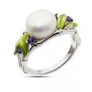 Серебряное кольцо De Luna с жемчугом, фианитами и эмалью