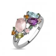 Серебряное кольцо Sandara с розовым кварцем, аметистом, топазом, зеленым гранатом, цитрином