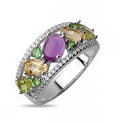 Серебряное кольцо Sandara с аметистом, зеленым гранатом, перидотом, цитрином и фианитами