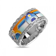 Серебряное кольцо Эмаль с фианитом