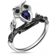 Серебряное кольцо Sandara Ice с черными и синими фианитами, черным родированием