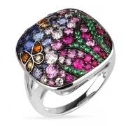 Серебряное кольцо Sandara Ice с цветными фианитами и черным родированием