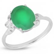 Серебряное кольцо Sandara с зеленым агатом и фианитами