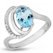 Серебряное кольцо Sandara с голубым топазом и фианитами