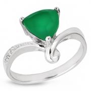 Серебряное кольцо Sandara с зеленым агатом и фианитом