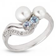 Серебряное кольцо De Luna с жемчугом, фианитами и топазами