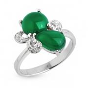 Серебряное кольцо Sandara с зелеными агатами и фианитами