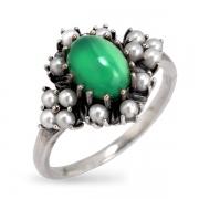 Серебряное кольцо c авантюрином и микрожемчугом