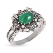 Серебряное кольцо c авантюрином,микрожемчугом и марказитами