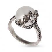 Серебряное кольцо c жемчугом, микрожемчугом и марказитами