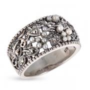 Серебряное кольцо c микрожемчугом и марказитами
