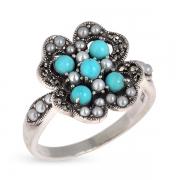 Серебряное кольцо c бирюзой ,микрожемчугом и марказитами