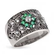 Серебряное кольцо c авантюрином ,микрожемчугом и марказитами