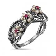 Серебряное кольцо c микрожемчугом, рубинами и марказитами