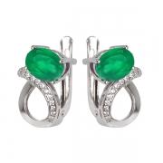 Серебряные серьги Sandara с зелёным агатом и фианитами