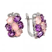 Серебряные серьги Sandara с аметистом и розовым кварцем