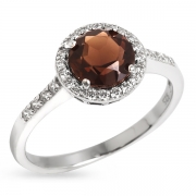 Серебряное кольцо Sandara с раух-топазом и фианитами