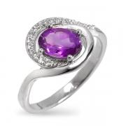 Серебряное кольцо Sandara с аметистом и фианитами