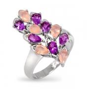 Серебряное кольцо Sandara с розовым кварцем и аметистом