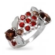 Серебряное кольцо Sandara с гранатом и раух-топазом