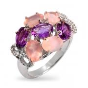 Серебряное кольцо Sandara с аметистом и розовым кварцем