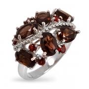 Серебряное кольцо Sandara с гранатом, раух-топазом и фианитами