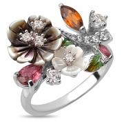 Серебряное кольцо Sandara с с турмалином, перламутром, фианитами и эмалью