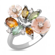 Серебряное кольцо Sandara с с турмалином, перламутром  и фианитами