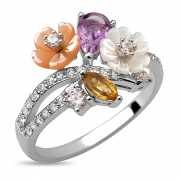 Серебряное кольцо Sandara с аметистом, цитрином, перламутром и фианитами