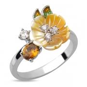 Серебряное кольцо Sandara с турмалином, перламутром, фианитами и эмалью