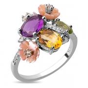 Серебряное кольцо Sandara с аметистом, перидотом, цитрином, перламутром и фианитами
