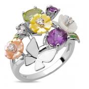 Серебряное кольцо Sandara с аметистом, перидотом, перламутром, фианитами и эмалью