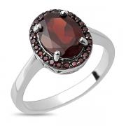 Серебряное кольцо Sandara с гранатом и черным родированием