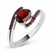 Серебряное кольцо Karluv Most с гранатом и черным родированием