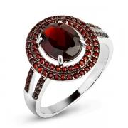 Серебряное кольцо Sandara с гранатами и черным родированием