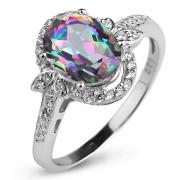 Серебряное кольцо Sandara с мистическим кварцем и фианитами