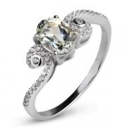 Серебряное кольцо Sandara с зеленым аметистом и фианитами